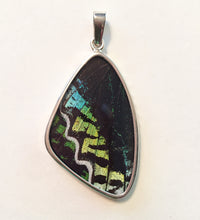 Load image into Gallery viewer, Butterfly Wing Pendant Green Banded Urania Leilus Large Wing Shape