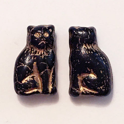 Cat Beads - pair of Czech glass beads grump kitty cat in jet black