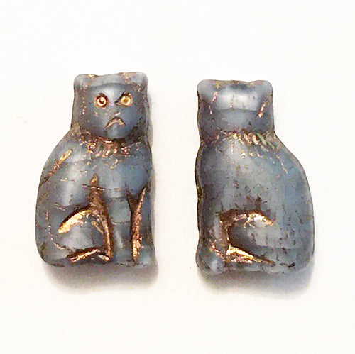 Cat Beads - pair of Czech glass beads grump kitty cat in grayish blue