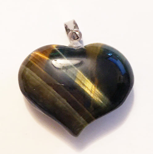 Hawks Eye or Blue Tigers Eye Pendant in Puffy Heart