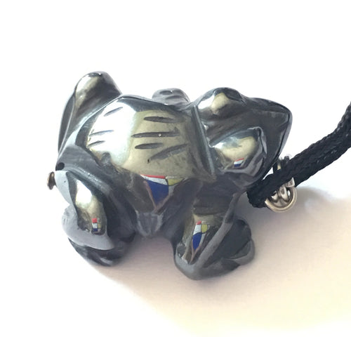 Hematite Frog Amulet on Black Cord aka Frog Fetish