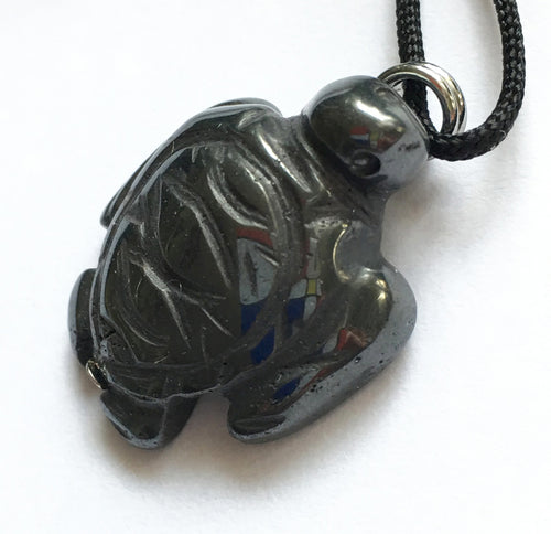 Hematite Turtle Amulet on Black Cord aka Sea Turtle Fetish