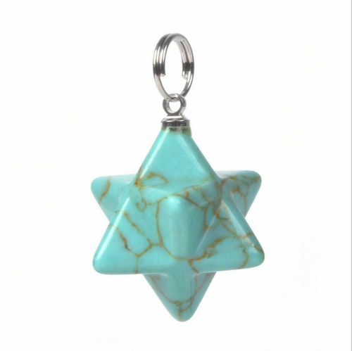 Howlite Merkaba Pendant dyed turquoise - Sacred Geometry Star of David