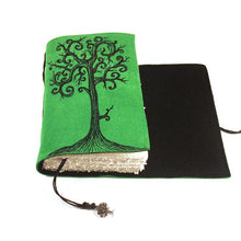 Load image into Gallery viewer, Celtic Journal in Emerald Green Color Handmade Suede Leather Swirl Tree Journal