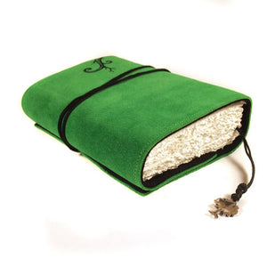 Celtic Journal in Emerald Green Color Handmade Suede Leather Swirl Tree Journal