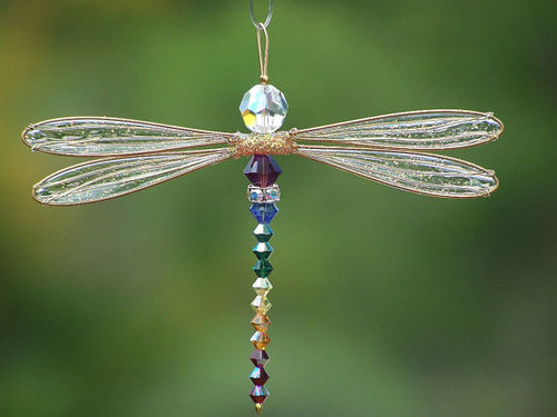 Dragonfly Suncatcher Small Mobile with Chakra Theme Swarovski Crystals