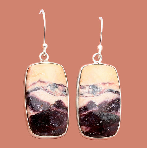 Indian Blanket Jasper Earrings in barrel shape