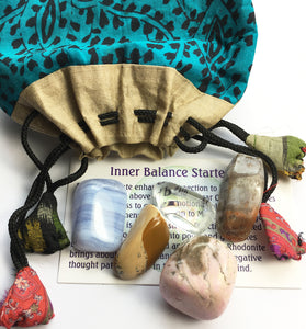 Stones for Inner Balance - Starter set of five stones in a silk sari drawstring pouch