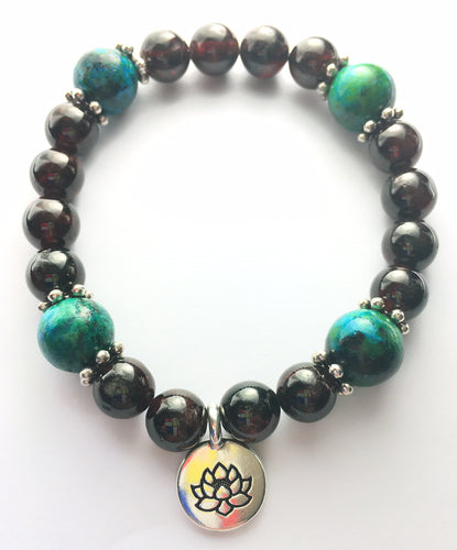 January Birthstone Garnet and Chrysocolla Bracelet with sterling silver spacers and lotus charm