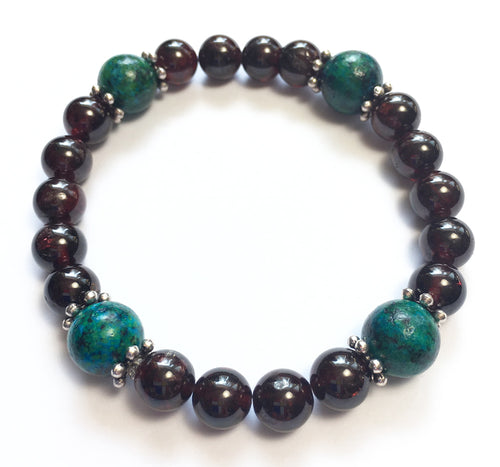 January Birthstone Garnet and Chrysocolla Bracelet with Silver Spacers