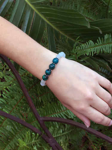 June Birthstone Moonstone and Chrysocolla Bracelet with Silver Spacers and Clasp