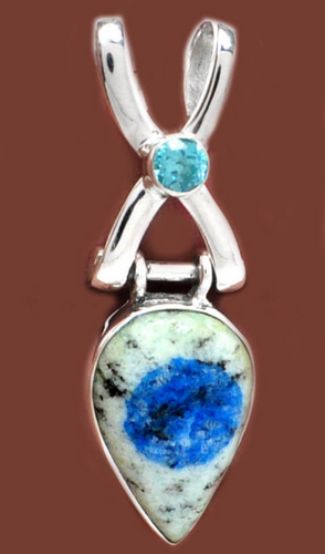 K2 - Azurite deposits in Granite pendant pear shaped with faceted Blue Topaz in sterling silver criss-cross design setting