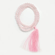 Load image into Gallery viewer, Rose Quartz 8mm Prayer Beads Mala with long Pink Tassel
