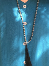 Load image into Gallery viewer, Prayer Bead Necklace with Tassel Labradorite Mala