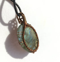 Load image into Gallery viewer, Blue Labradorite Pendant in Copper Tree of Life Wire Wrap