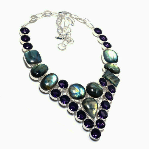 Labradorite and Iolite Collar Necklace