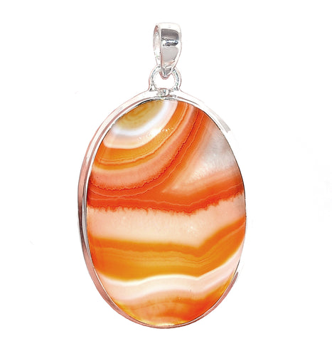 Lake Superior Agate Pendant in oval Sterling Silver Setting