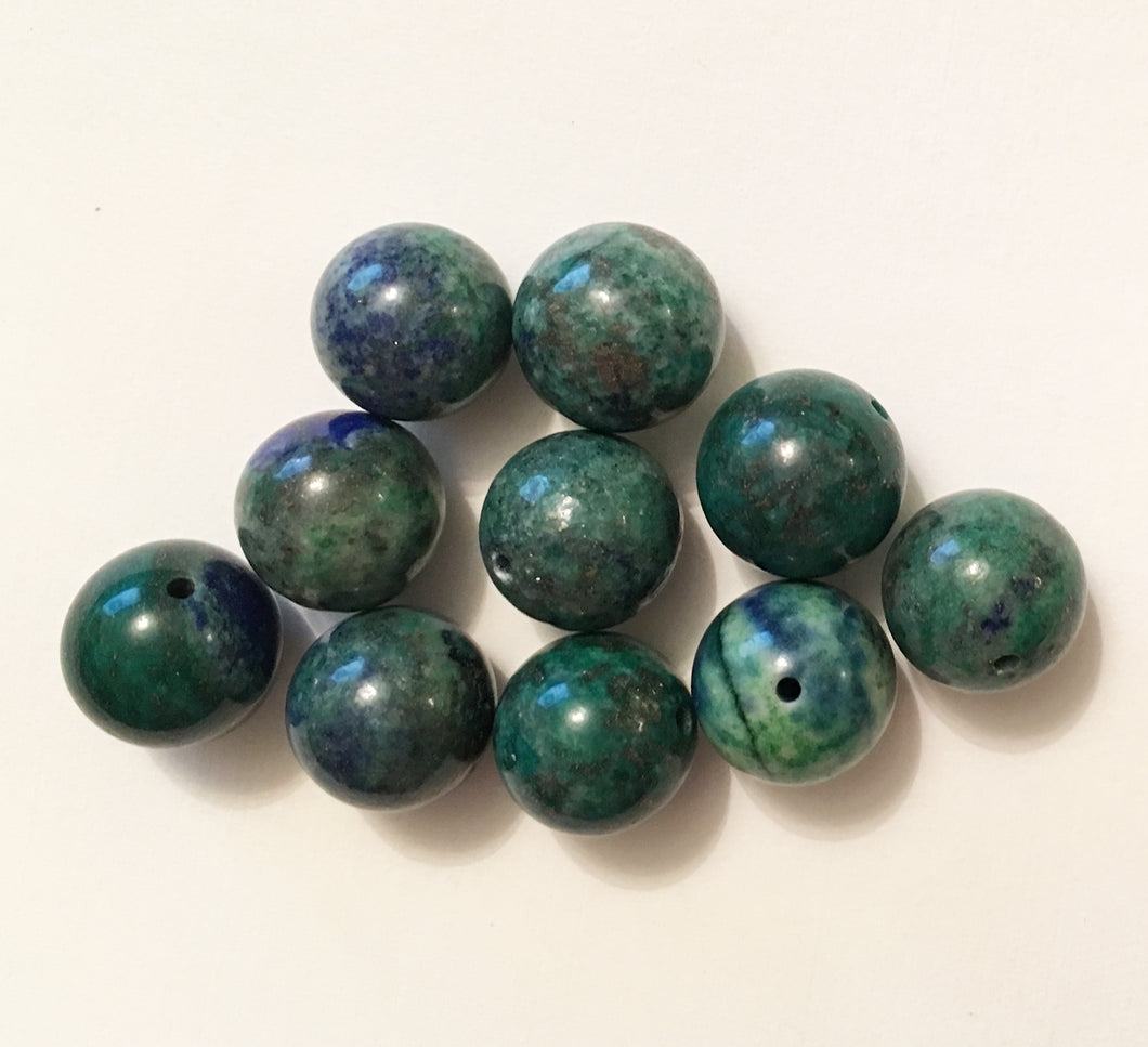 Lapis Lazuli and Azurite 12mm Round Beads - lot of ten
