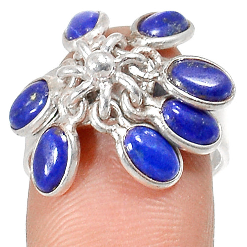 Lapis Lazuli Ring Flower Sterling Silver Ring Size 6.5 Setting