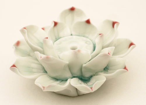 Large Hand-Constructed Glazed Lotus Flower White Bisque Incense Stand
