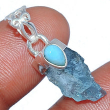 Load image into Gallery viewer, Natural Aquamarine and Larimar Pendant