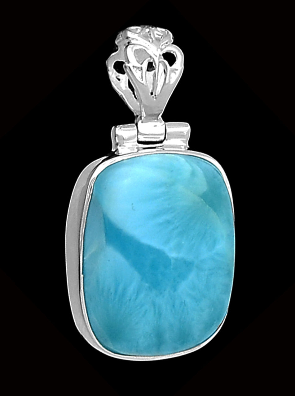 Larimar Stone Sterling Pendant - magnificent color