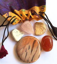 Load image into Gallery viewer, Crystals for Love: Whole Lotta Love Stones Starter set of five stones in a silk sari drawstring pouch