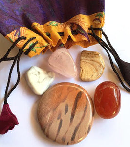 Crystals for Love: Whole Lotta Love Stones Starter set of five stones in a silk sari drawstring pouch