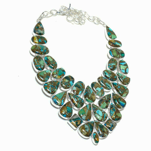 Malachite in Copper Matrix Statement Collar Necklace