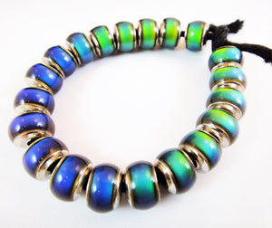 Strand of 20 Mirage Colorful Beads in Fat Tire Design