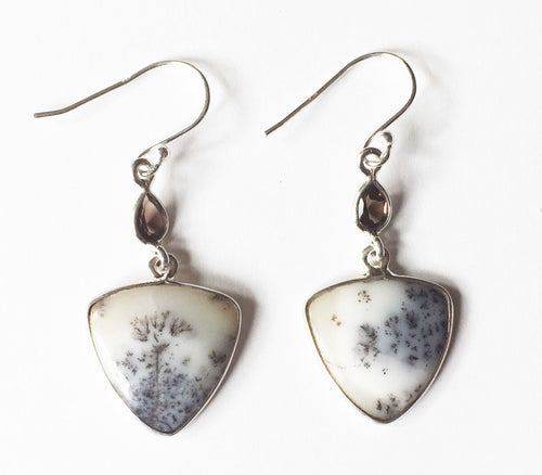 Triangular Mystic Merlinite Earrings in Sterling Silver with Smoky Quartz