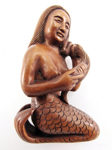Mermaid Boxwood Netsuke Bead Mermaid Combing her Hair