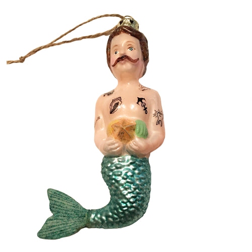 Merman Ornament with Handlebar Mustache and Tattoos