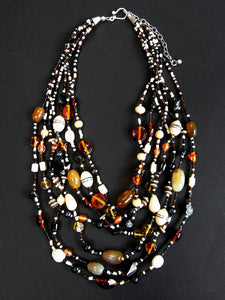 Malala Glass, Agate and Bone Necklace in Black Tones