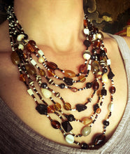Load image into Gallery viewer, Malala Glass, Agate and Bone Necklace in Black Tones