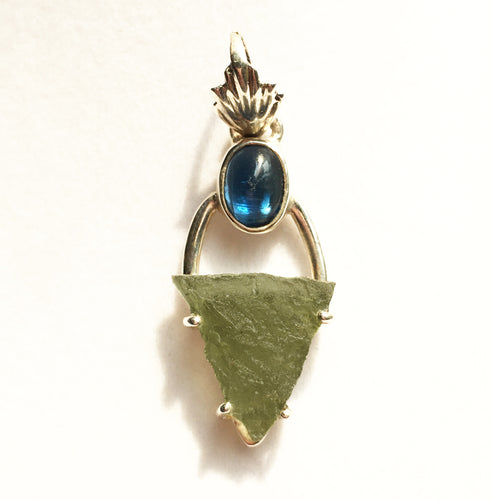 Moldavite Pendant with Blue Kyanite