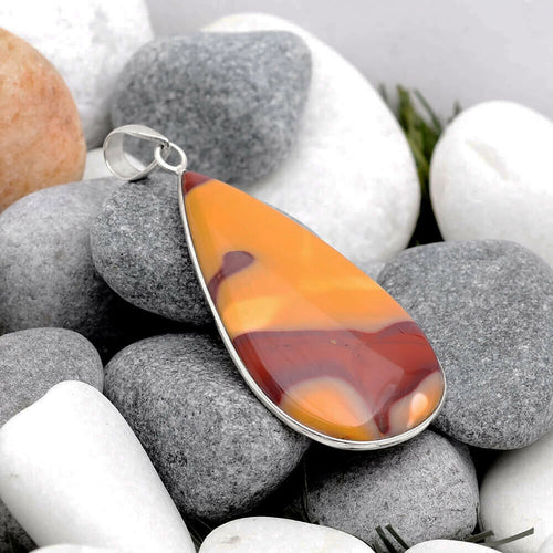Mookaite Jasper Pendant in Gold and Cherry Hues