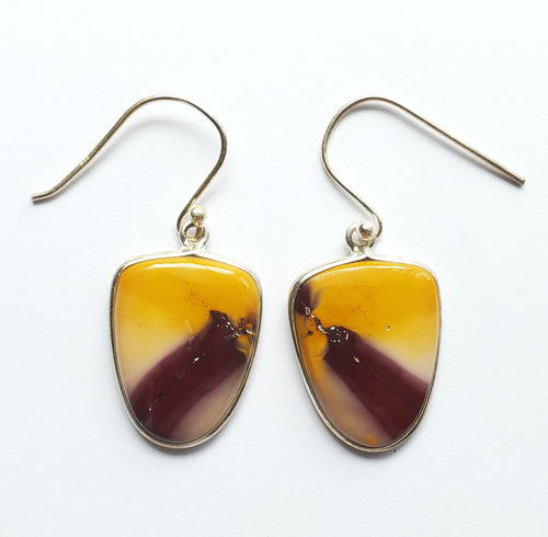 Mookaite Jasper Earrings in sterling silver shield frames