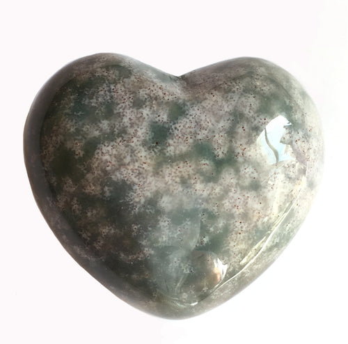 Puffy 45mm Moss Agate Heart