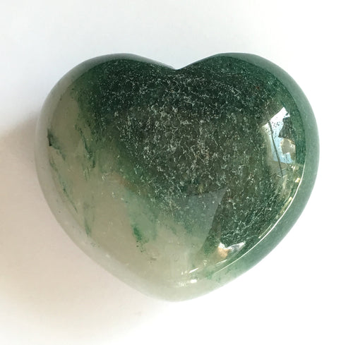 Green Moss Agate Puffy Heart 45mm wide