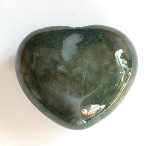 Green Moss Agate Heart 44.2mm Puffy Heart