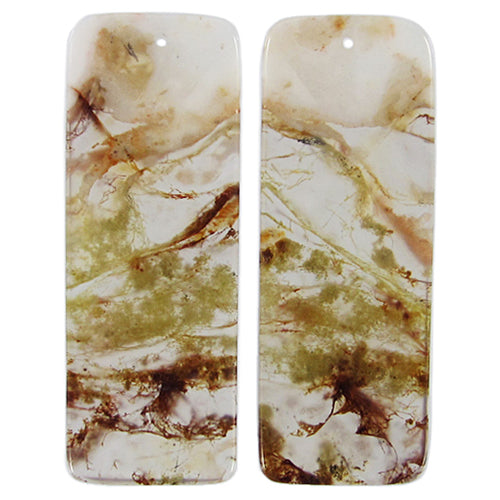 Moss Agate Beads Rectangular Matching Earring Beads