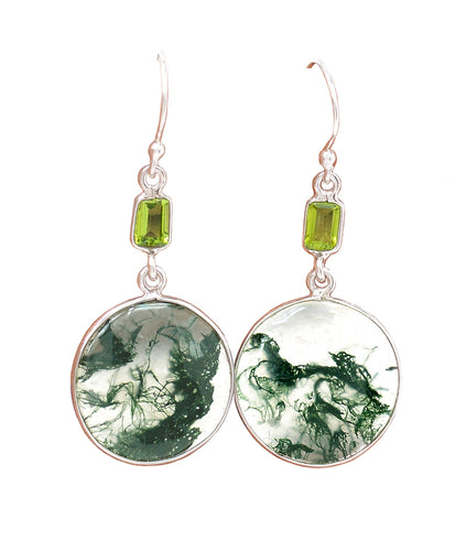 Moss Agate Earrings with faceted Peridot Baguettes