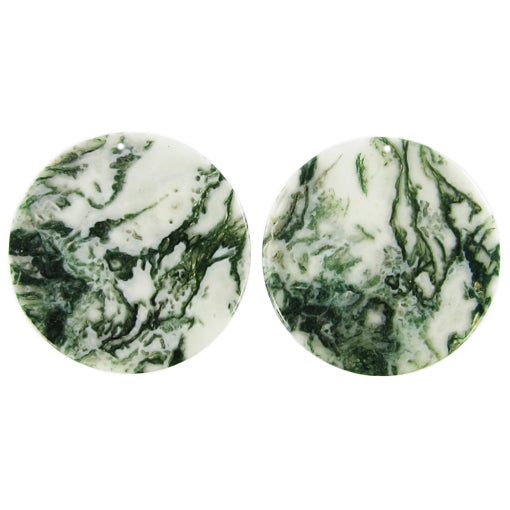 Green Moss Agate Beads for Earrings