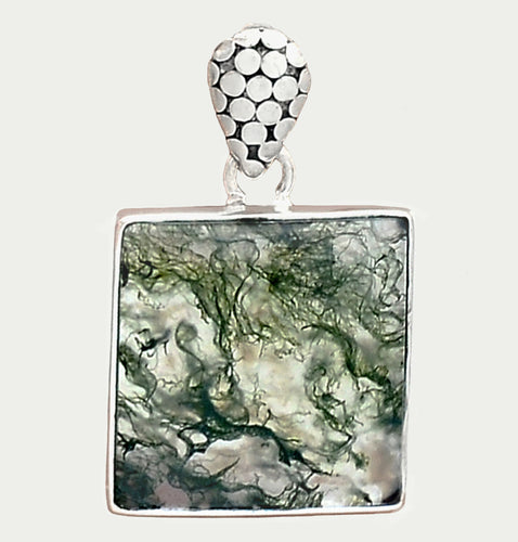 Green Moss Agate Pendant in Sterling Silver