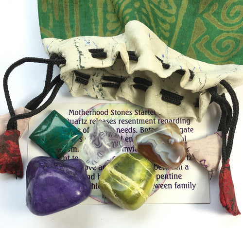 Motherhood Set of five stones in a silk sari drawstring pouch