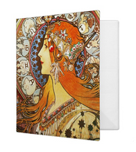 Load image into Gallery viewer, Alphonse Mucha La Plume Zodiac Art Nouveau Vintage 1.4 inch Avery 3-Ring Binder