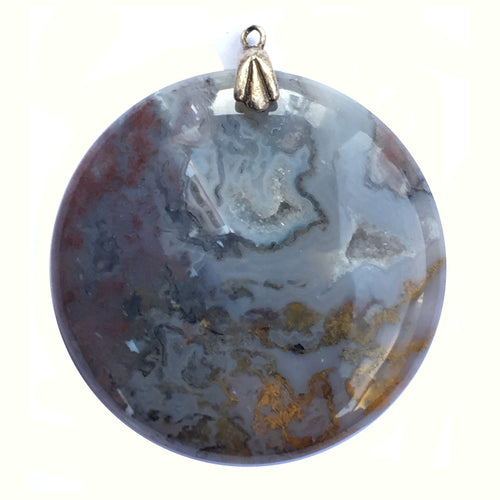 Moss Agate Pendant with crevices of druzy