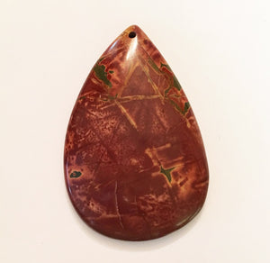 Picasso Stone Bead in burnt sienna pear shape perfect as a focal bead.