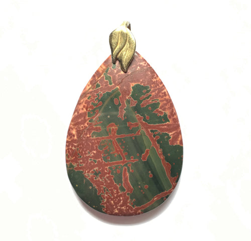 Picasso Jasper Pendant in big pear shape.